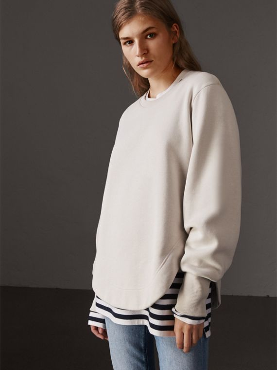 Curved Hem Jersey Sweatshirt in Winter White