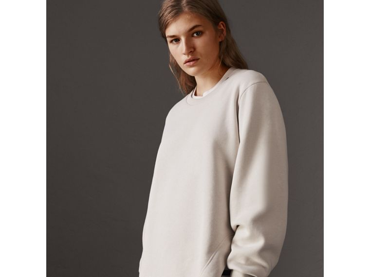 Curved Hem Jersey Sweatshirt in Winter White - Women | Burberry - cell image 4