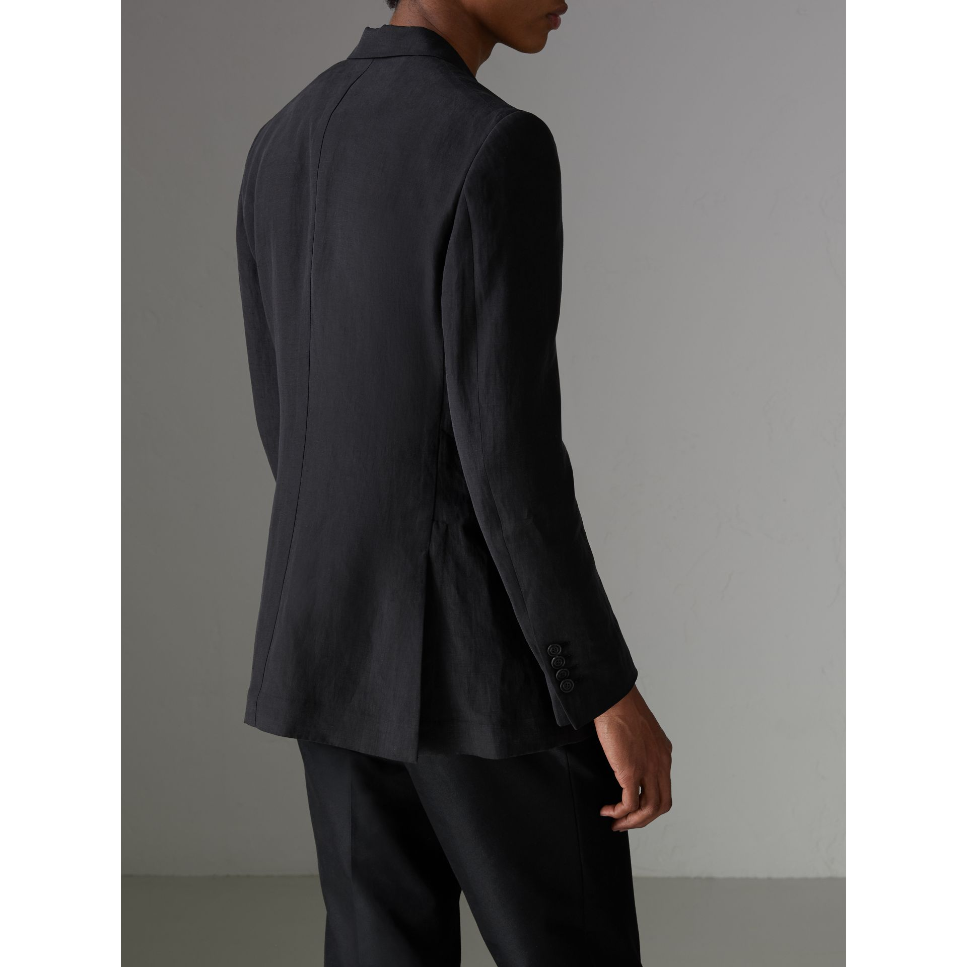 Slim Fit Linen Silk Evening Jacket in Black - Men | Burberry - gallery image 2
