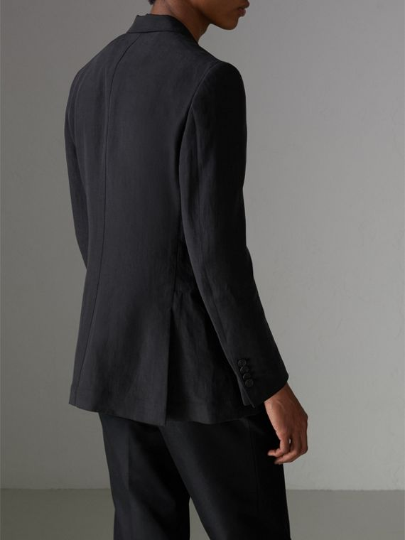 Slim Fit Linen Silk Evening Jacket in Black - Men | Burberry Australia - cell image 2