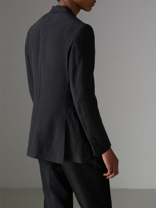 Slim Fit Linen Silk Evening Jacket in Black - Men | Burberry United States - cell image 2