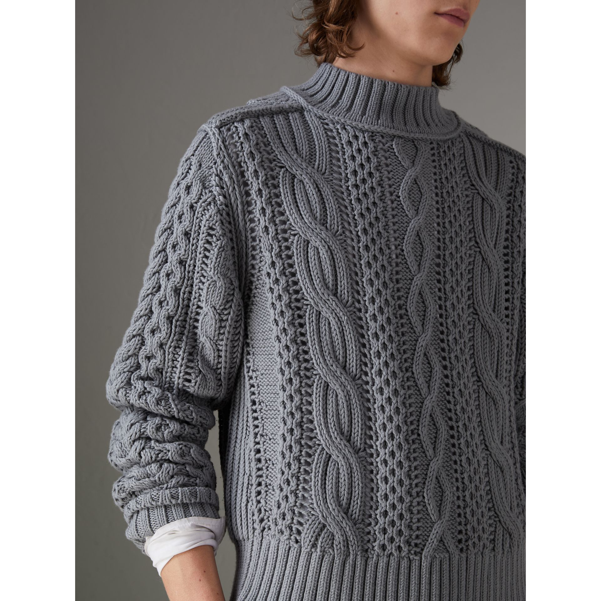 Open-stitch Detail Cable Knit Cotton Cashmere Sweater in Stone Blue - Men | Burberry - gallery image 1