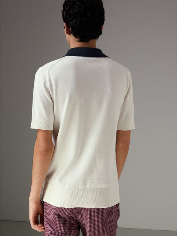 Two-tone Knitted Cotton Polo Shirt in Natural White - Men | Burberry Australia - cell image 2