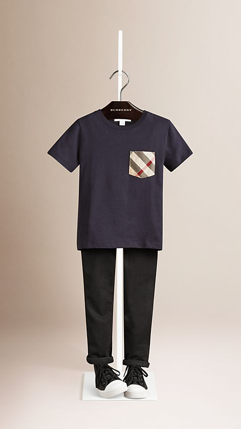 True navy Check Pocket T-shirt - Image 1