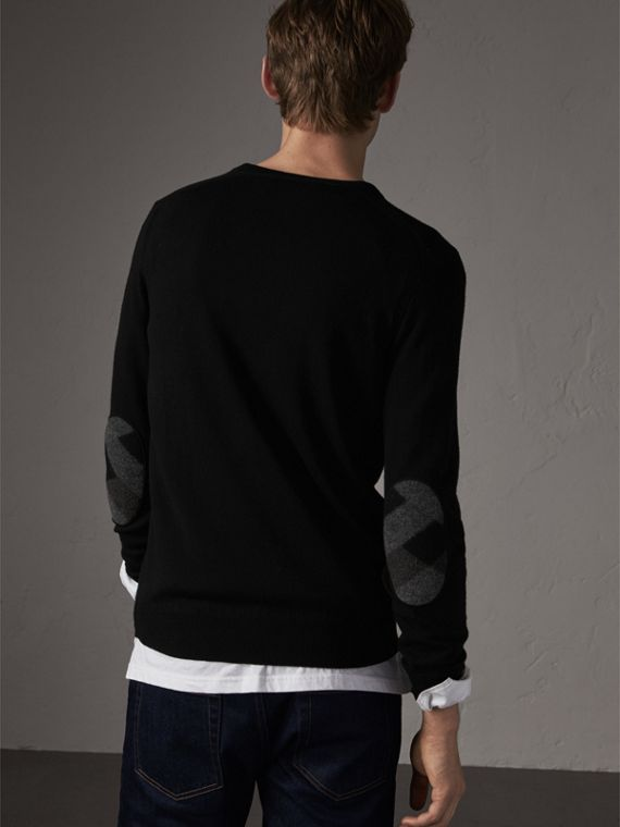 Check Trim Cashmere Cotton Sweater in Black - Men | Burberry - cell image 2