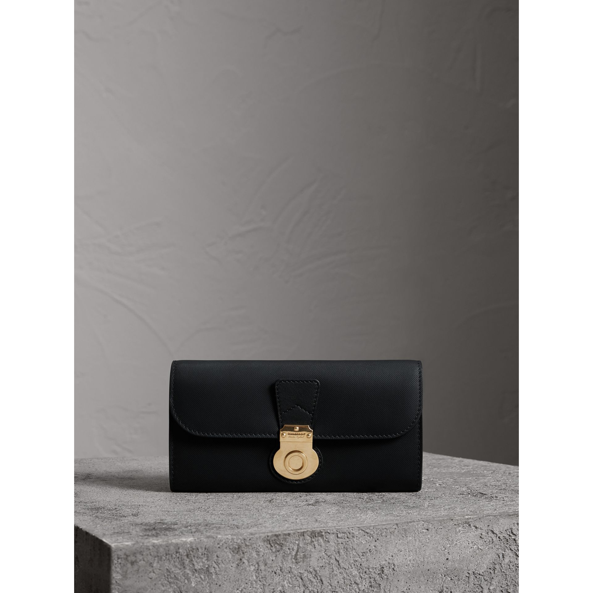 Trench Leather Continental Wallet in Black - Women | Burberry - gallery image 5