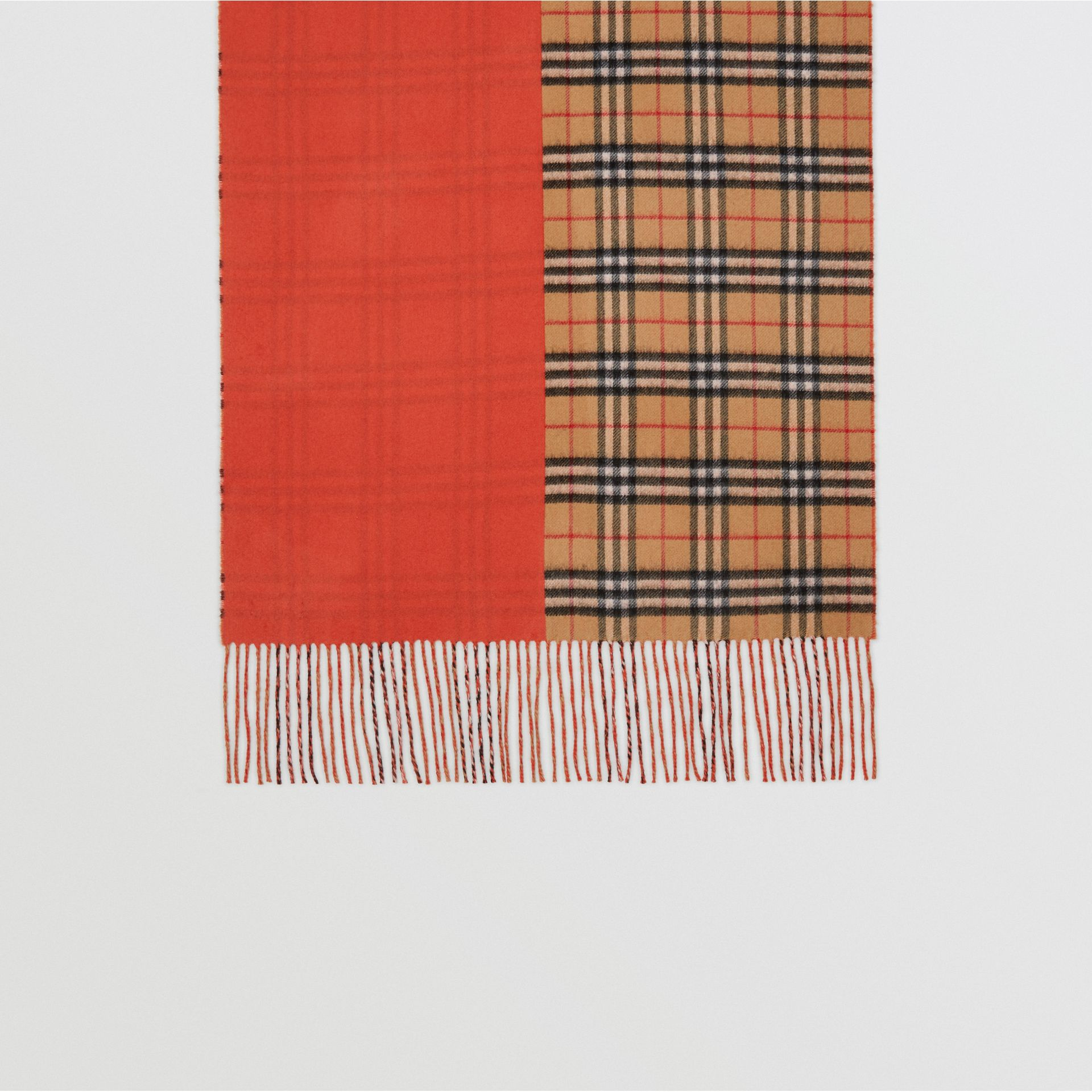 Colour Block Vintage Check Cashmere Scarf in Vibrant Orange | Burberry - gallery image 4