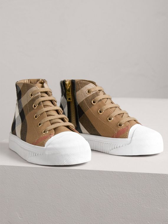 House Check and Leather High-top Sneakers in Classic/optic White | Burberry - cell image 3