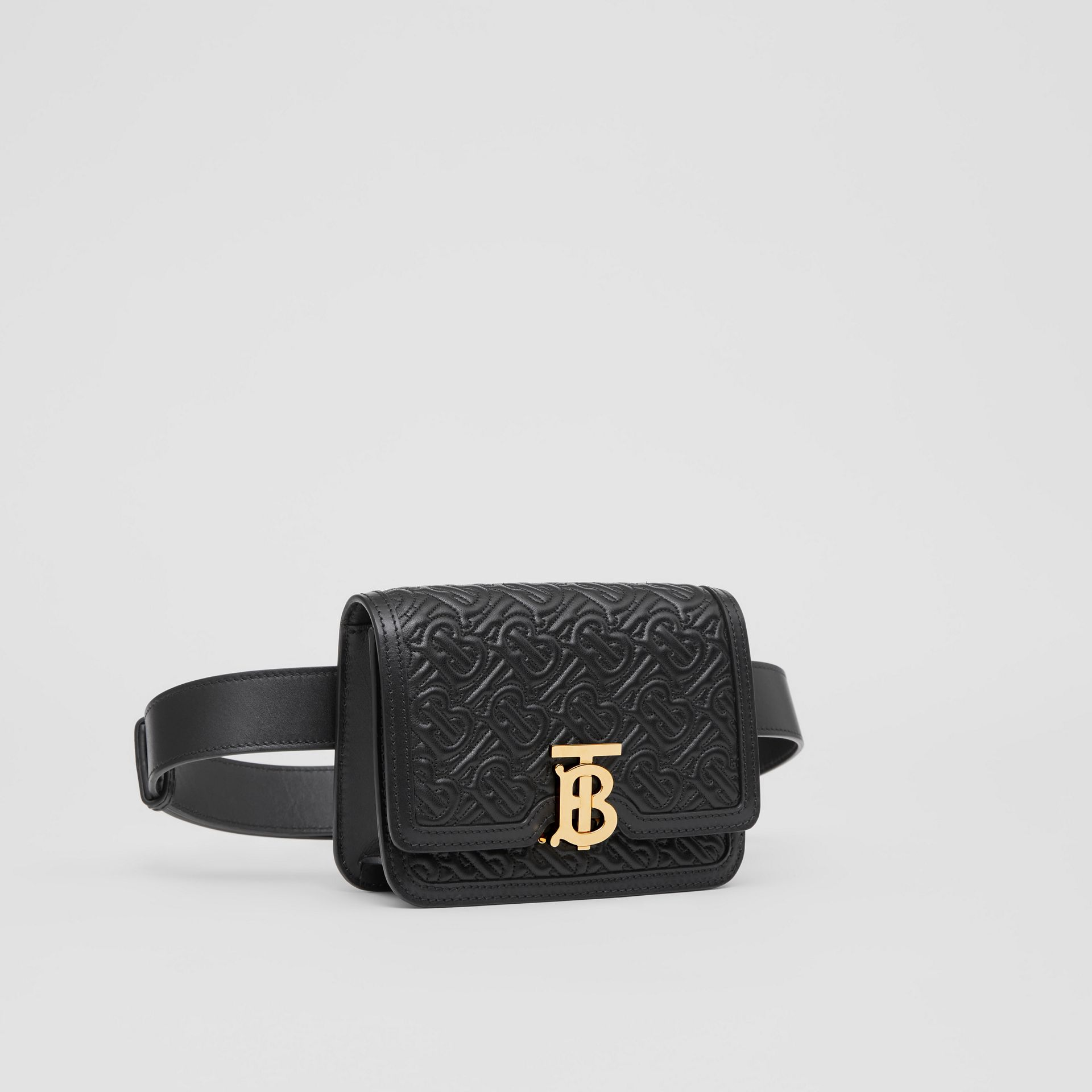 Belted Quilted Monogram Lambskin TB Bag in Black - Women | Burberry - gallery image 6