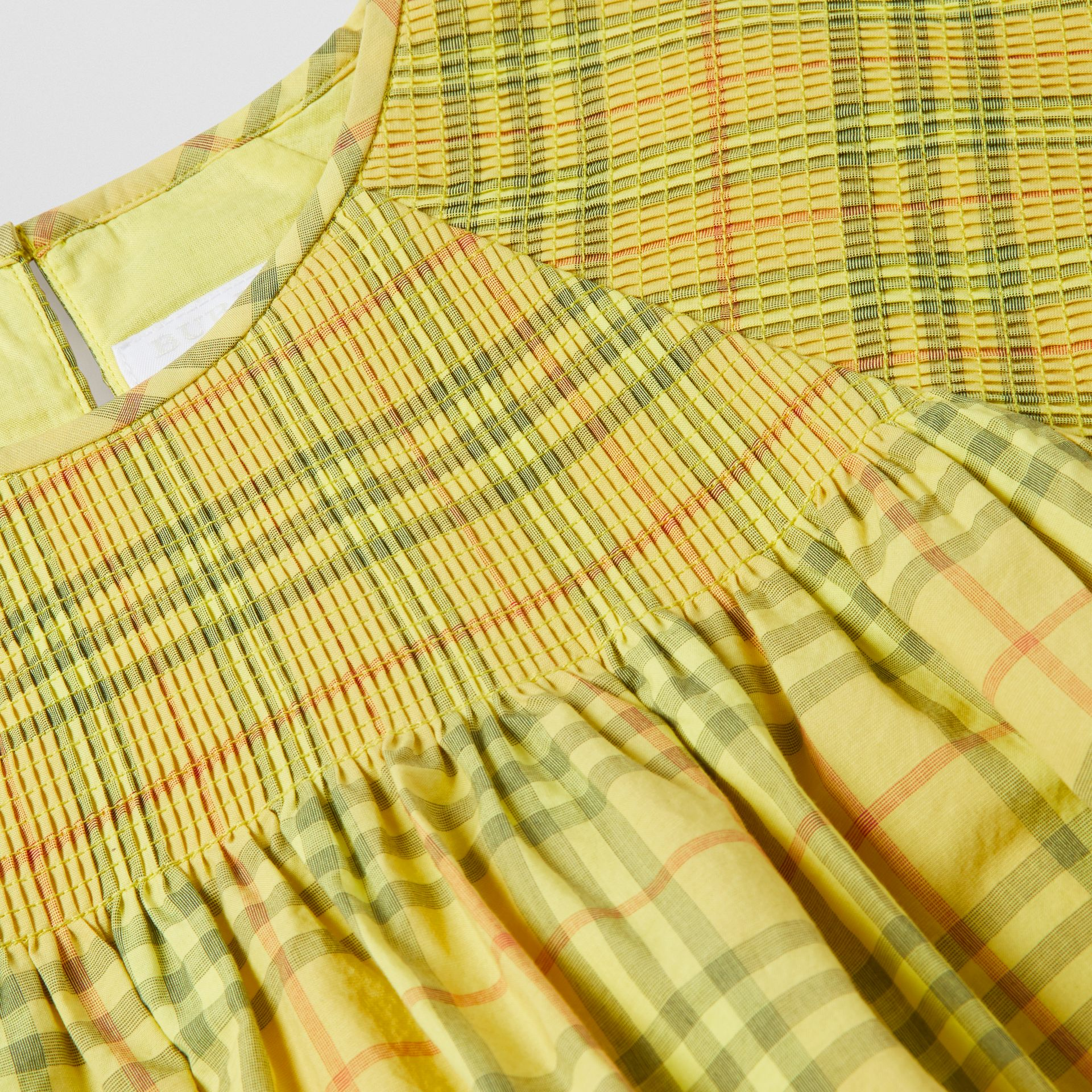 Smocked Check Cotton Dress in Citrus Yellow | Burberry - gallery image 1