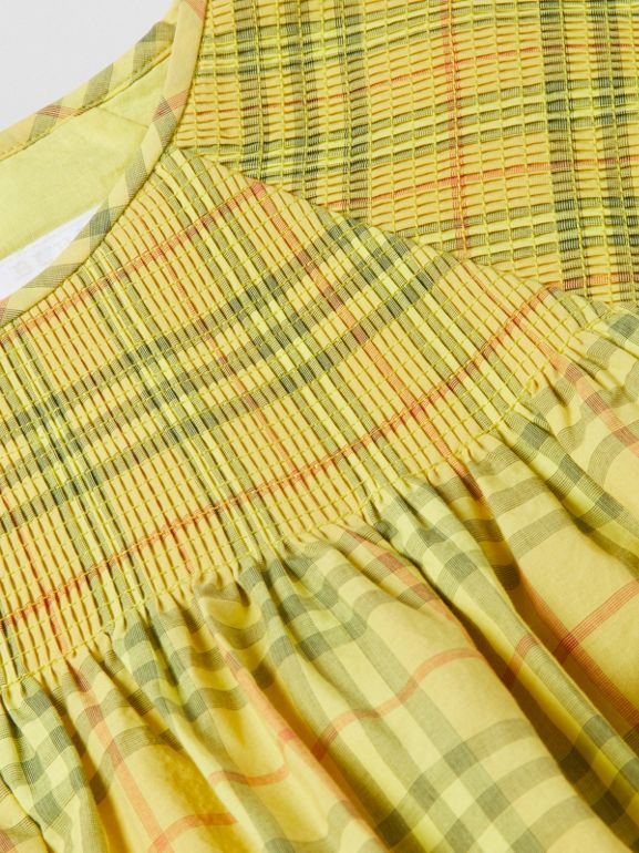 Smocked Check Cotton Dress in Citrus Yellow | Burberry - cell image 1