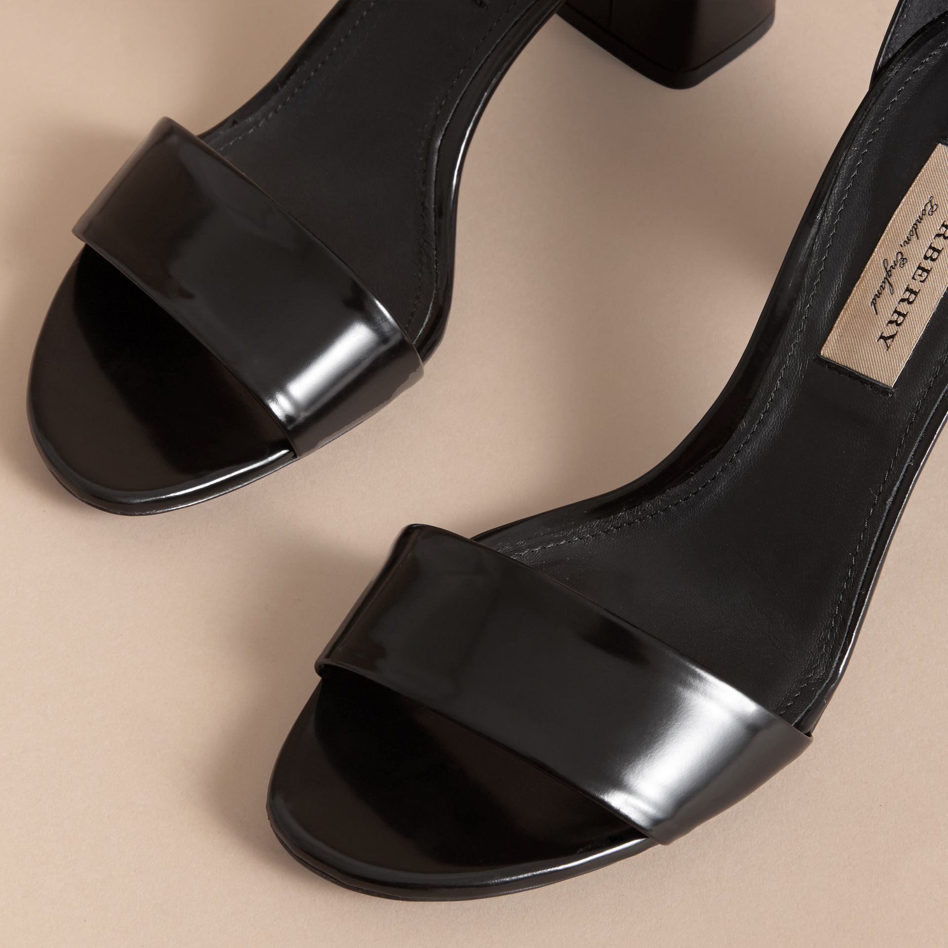 Buckle Detail Patent Leather Sandals in Black - Women | Burberry - gallery image 5