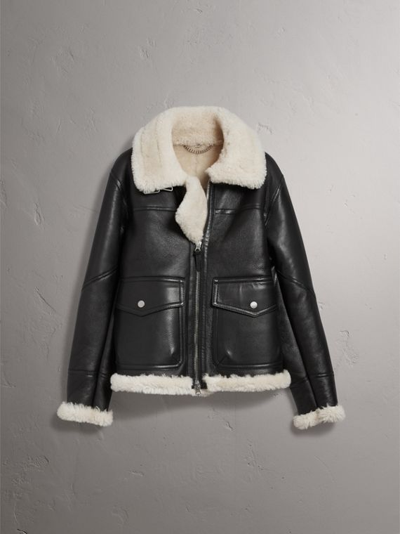Shearling Aviator Jacket in Black - Men | Burberry United Kingdom - cell image 3