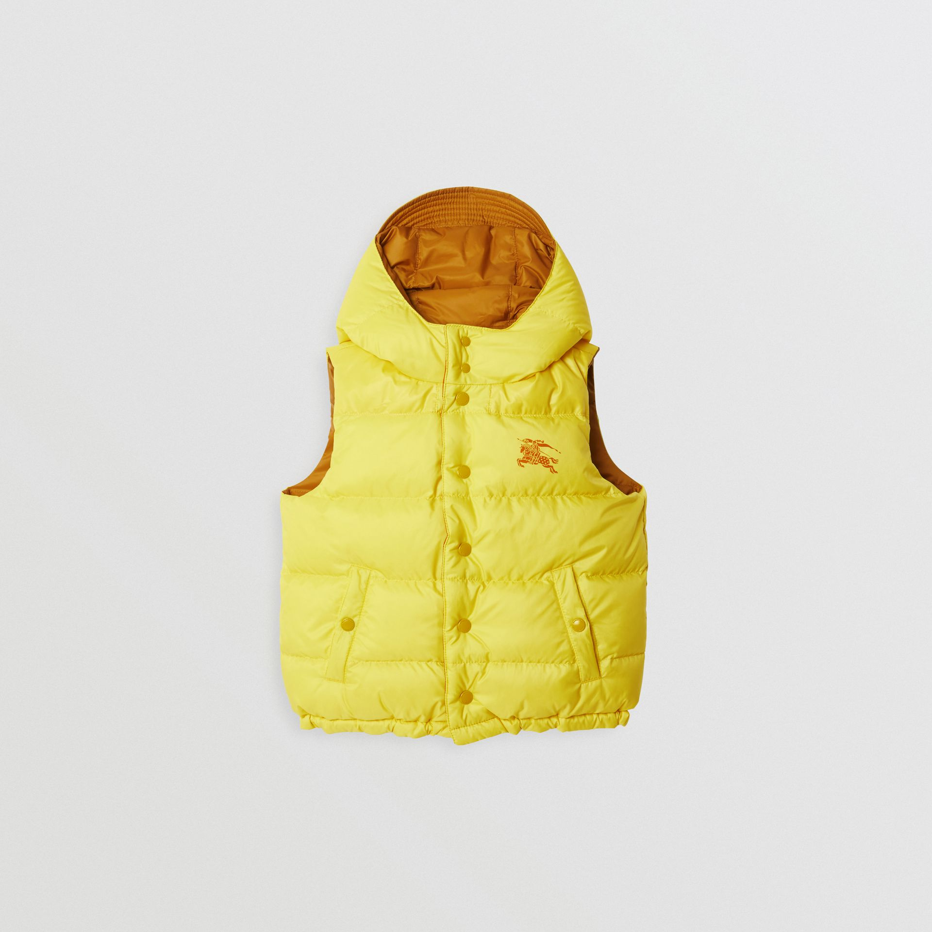 Reversible Showerproof Down-filled Hooded Gilet in Citrus Yellow | Burberry United States - gallery image 0