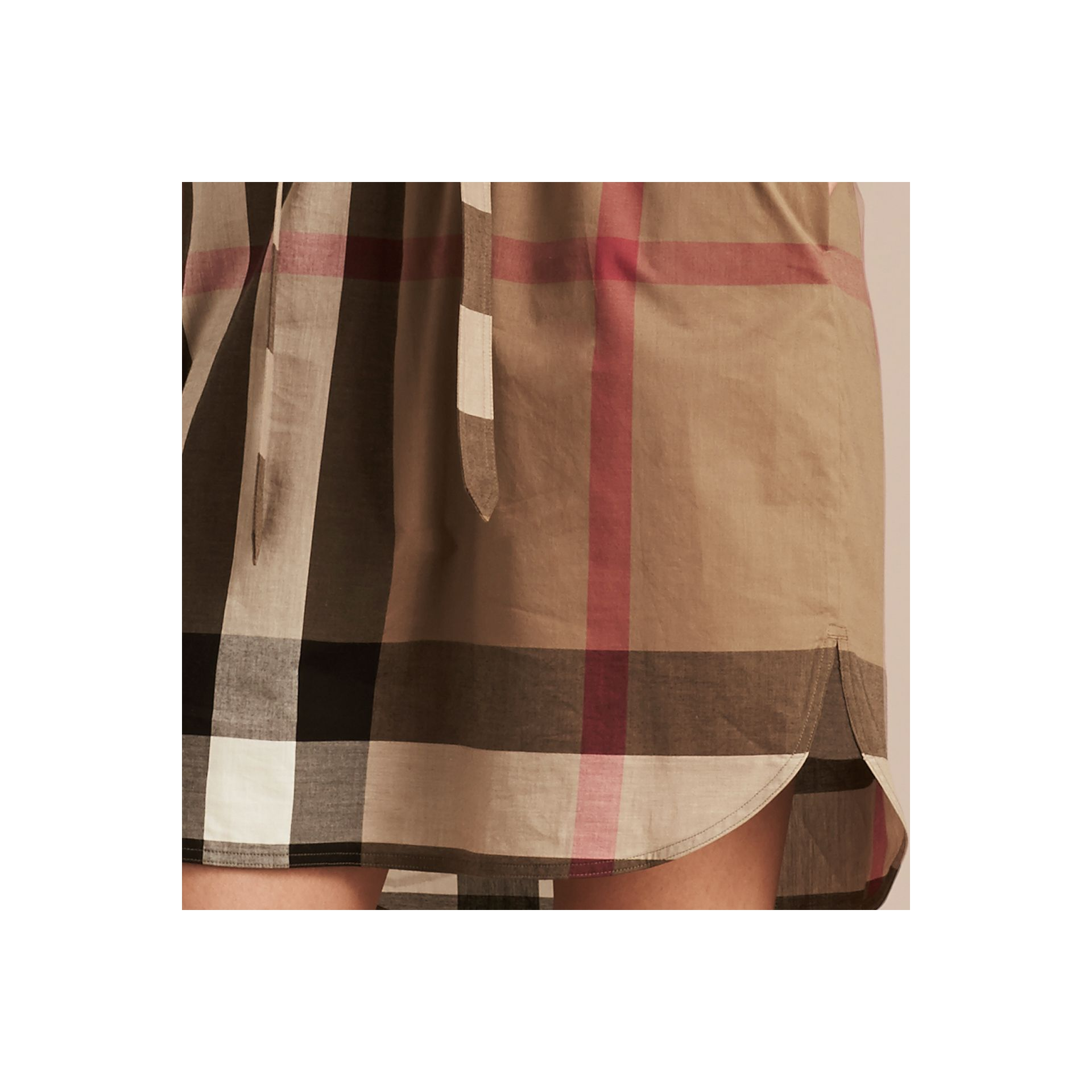 Taupe brown Check Cotton Shirt Dress Taupe Brown - gallery image 2