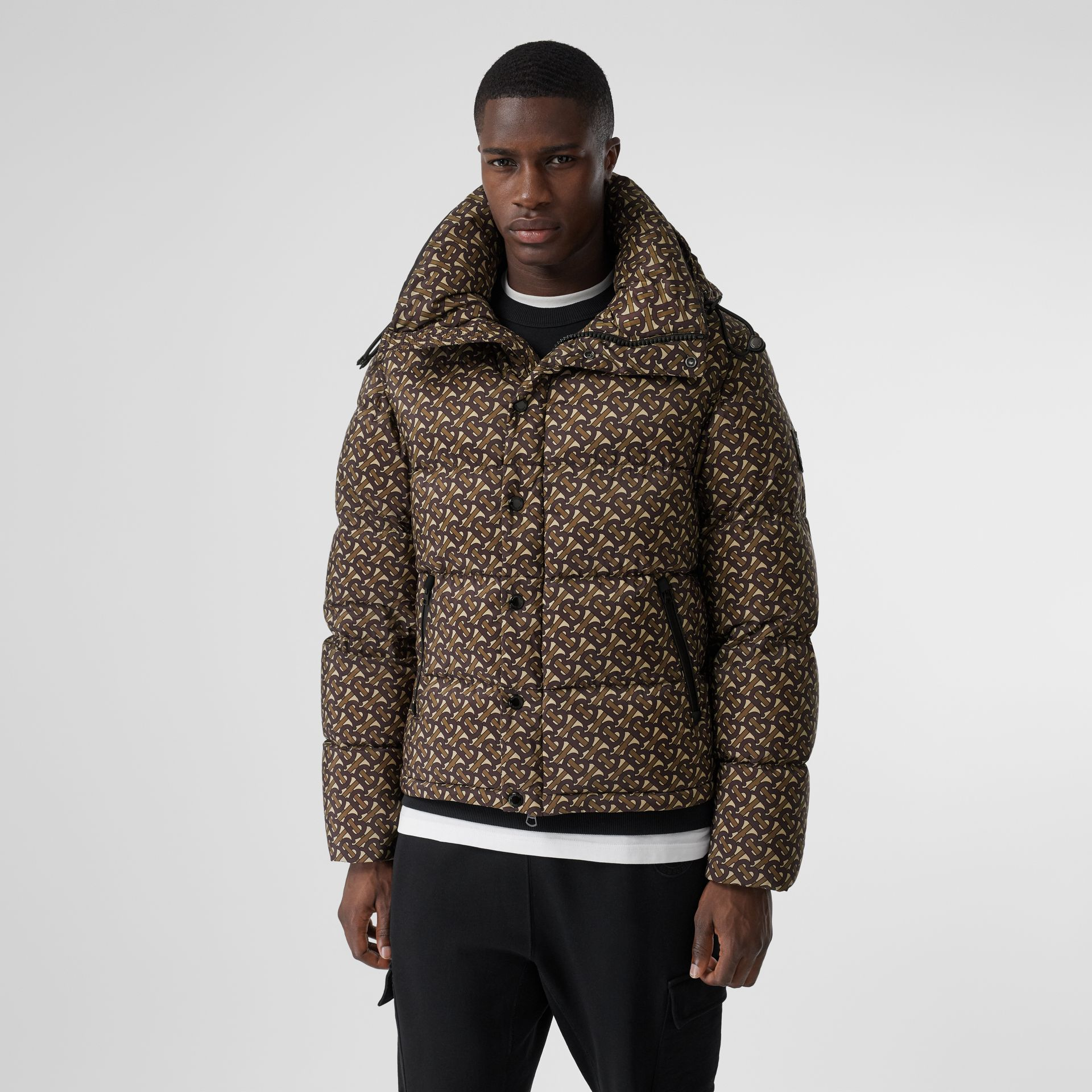 Detachable Sleeve Monogram Print Puffer Jacket in Bridle Brown - Men | Burberry - gallery image 6