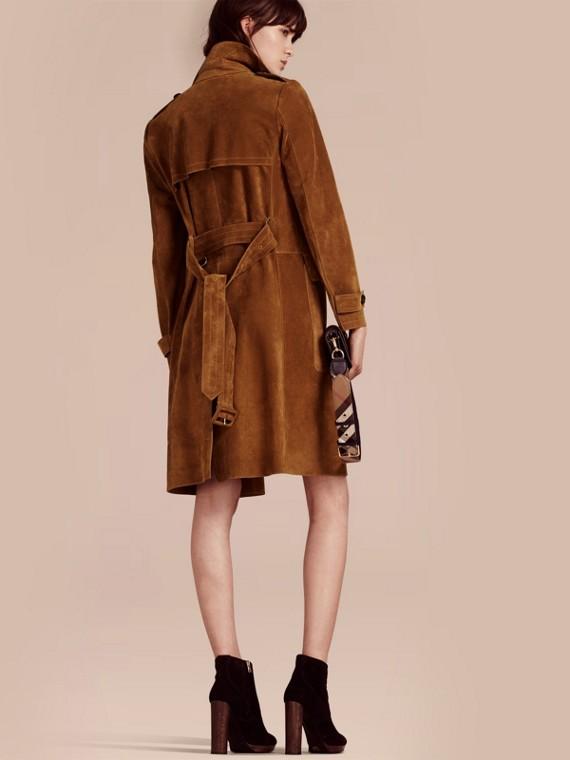 Cognac Manteau portefeuille en cuir velours - cell image 2