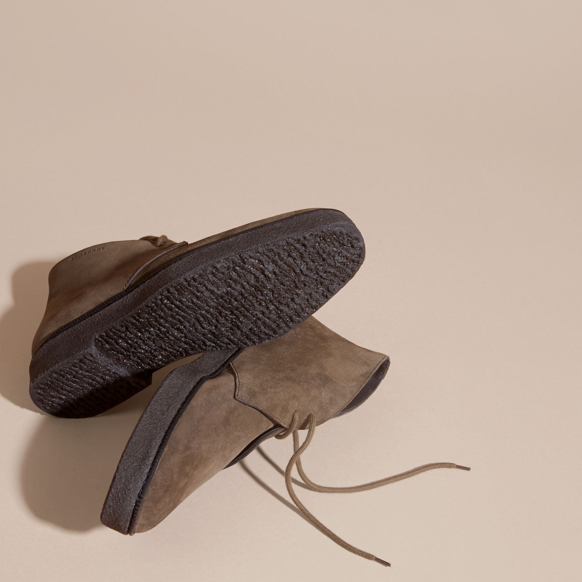 Crepe Sole Suede Desert Boots in Khaki - gallery image 5