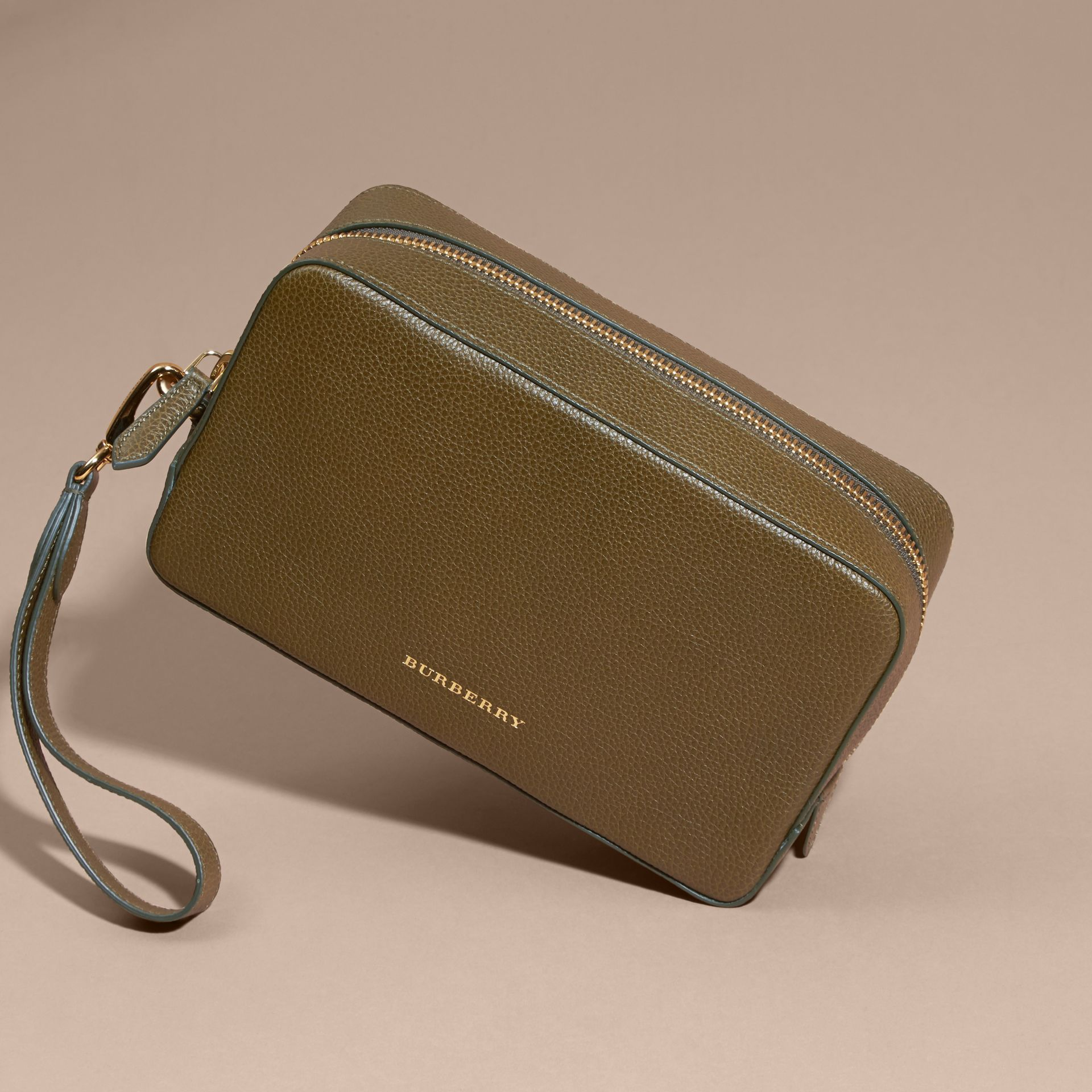 Olive green Grainy Leather Washbag Olive Green - gallery image 4