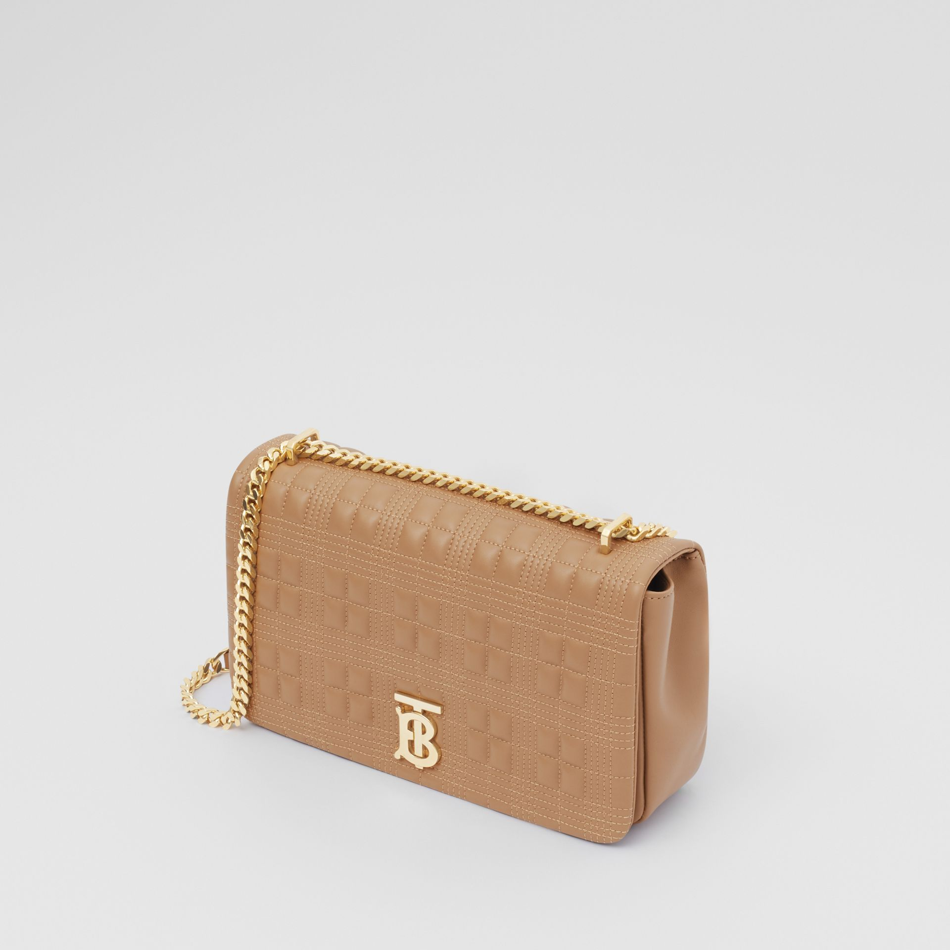 Medium Quilted Check Lambskin Lola Bag in Camel - Women | Burberry - gallery image 3