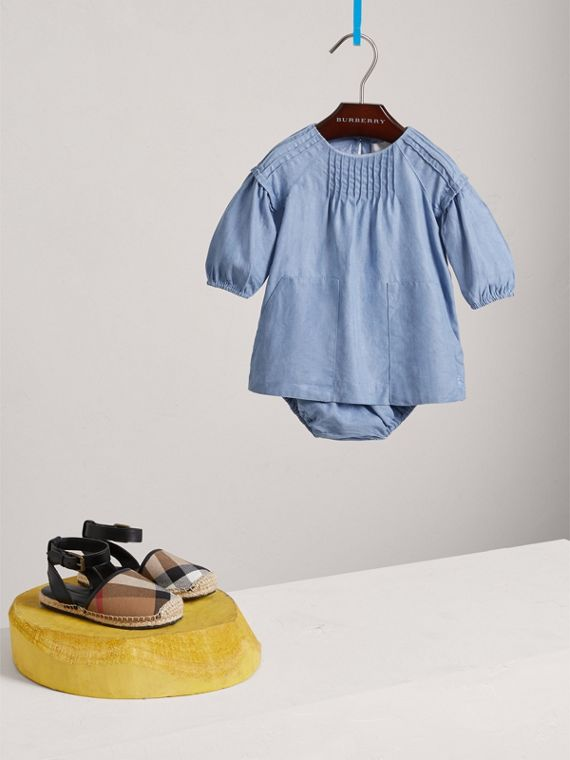 Pintuck Detail Chambray Dress with Bloomers in Steel Blue