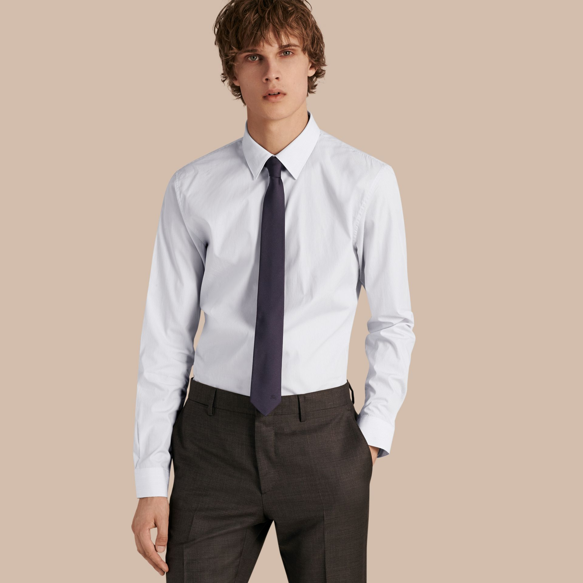 Slim Fit Striped Cotton Poplin Shirt in City Grey - Men | Burberry - gallery image 1