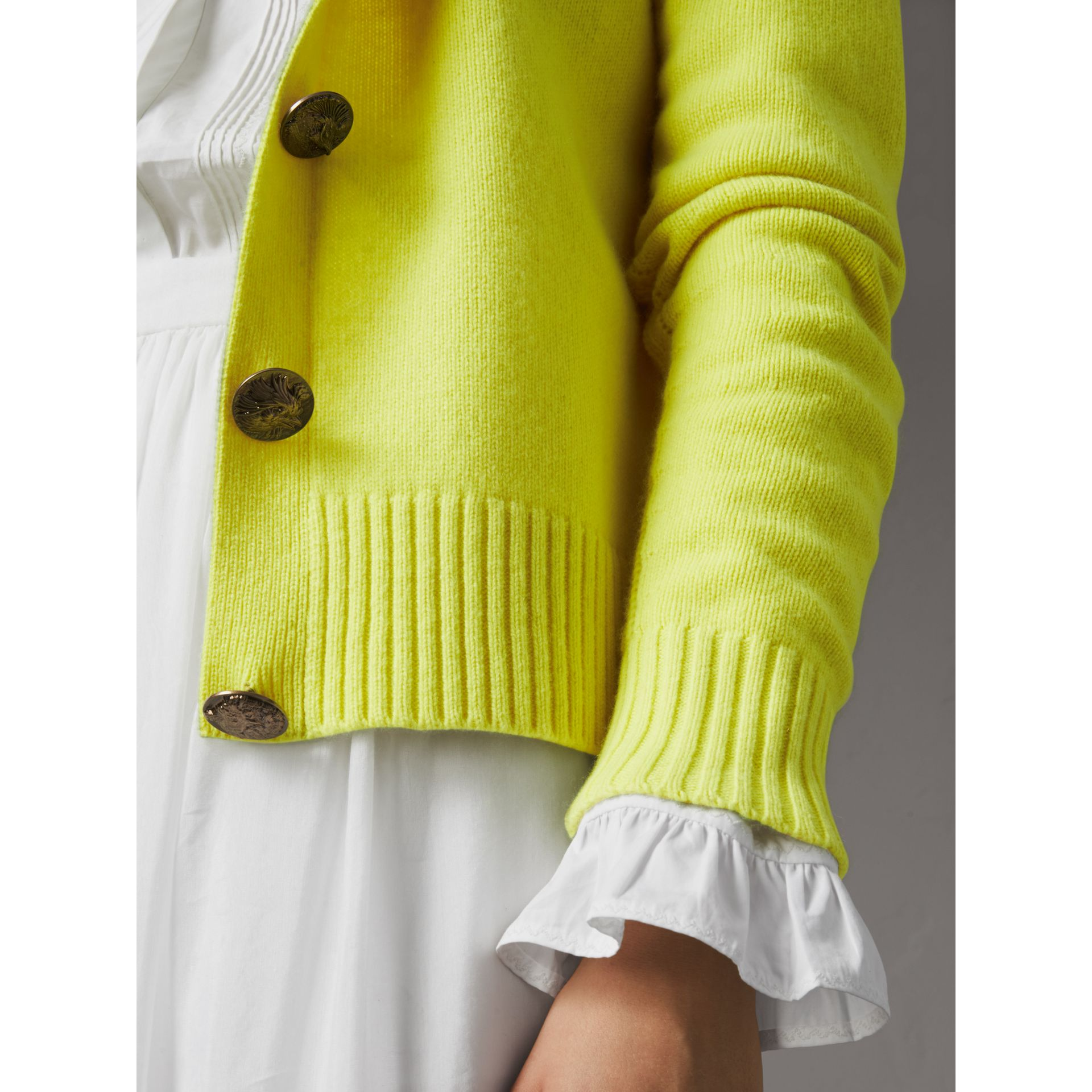 Bird Button Cashmere Cardigan in Bright Citrine | Burberry - gallery image 1