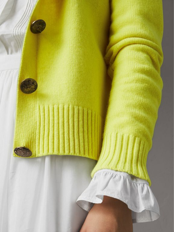 Bird Button Cashmere Cardigan in Bright Citrine | Burberry - cell image 1