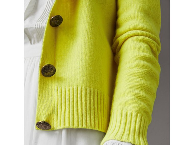 Bird Button Cashmere Cardigan in Bright Citrine - Women | Burberry - cell image 1