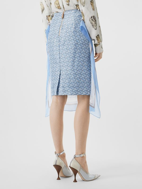 Scarf Detail Monogram Print Silk Pencil Skirt in Baby Blue - Women | Burberry - cell image 2