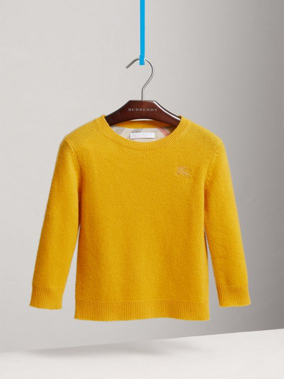 Check Elbow Patch Cashmere Sweater in Amber Yellow - Boy | Burberry United Kingdom - cell image 2