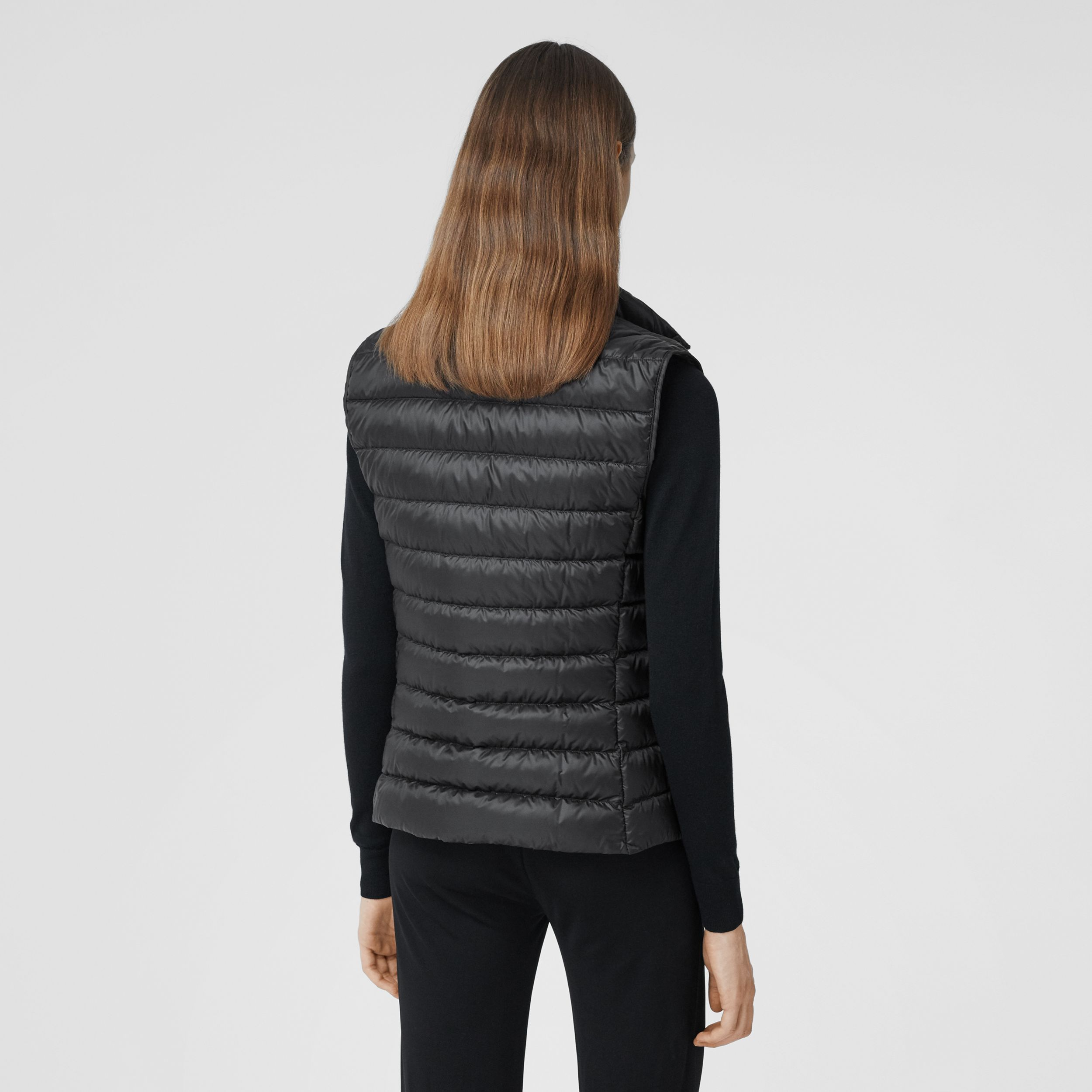 Monogram Print-lined Lightweight Puffer Gilet in Black - Women | Burberry - 3