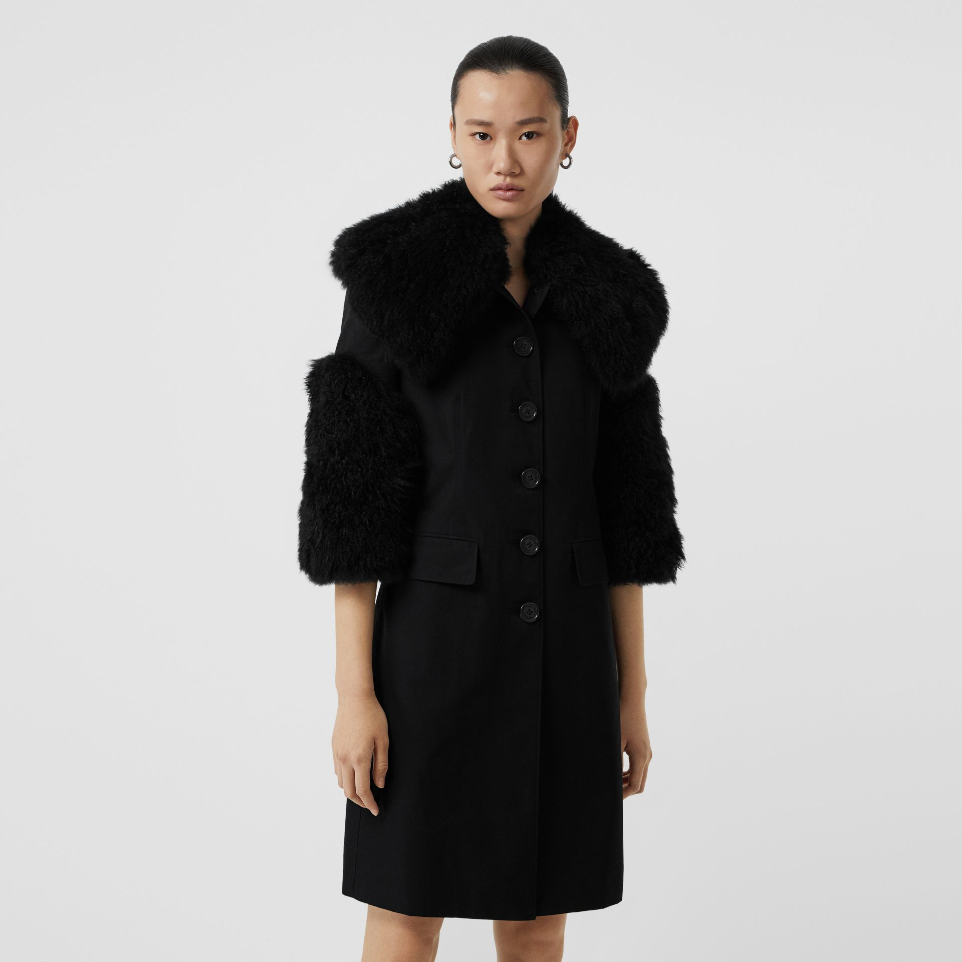 Goat Hair Trim Cotton Gabardine Coat in Black - Women | Burberry - gallery image 6