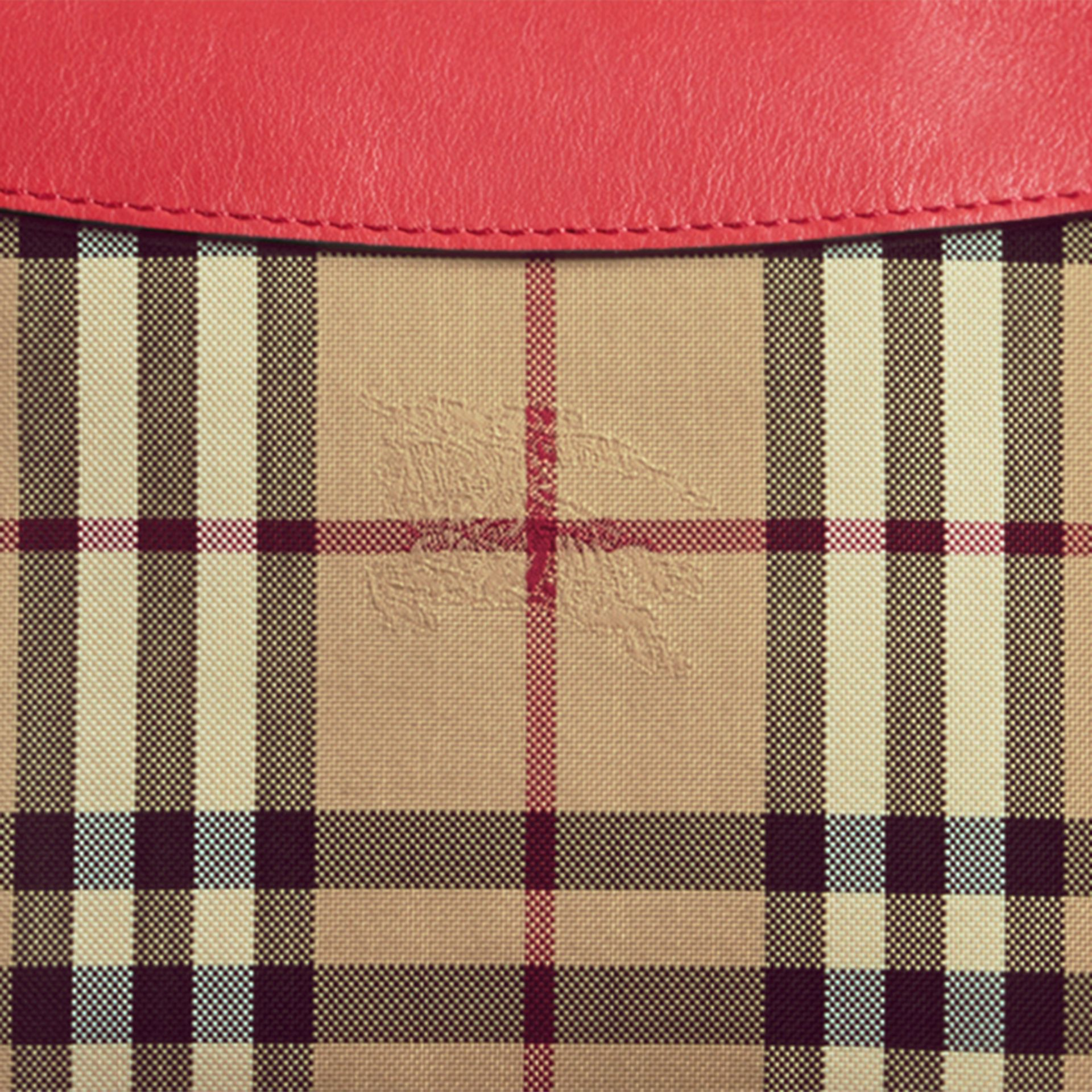 Horseferry Check and Leather Clutch Bag in Parade Red - gallery image 2