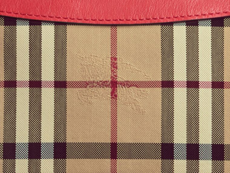 Horseferry Check and Leather Clutch Bag in Parade Red - Women | Burberry - cell image 1