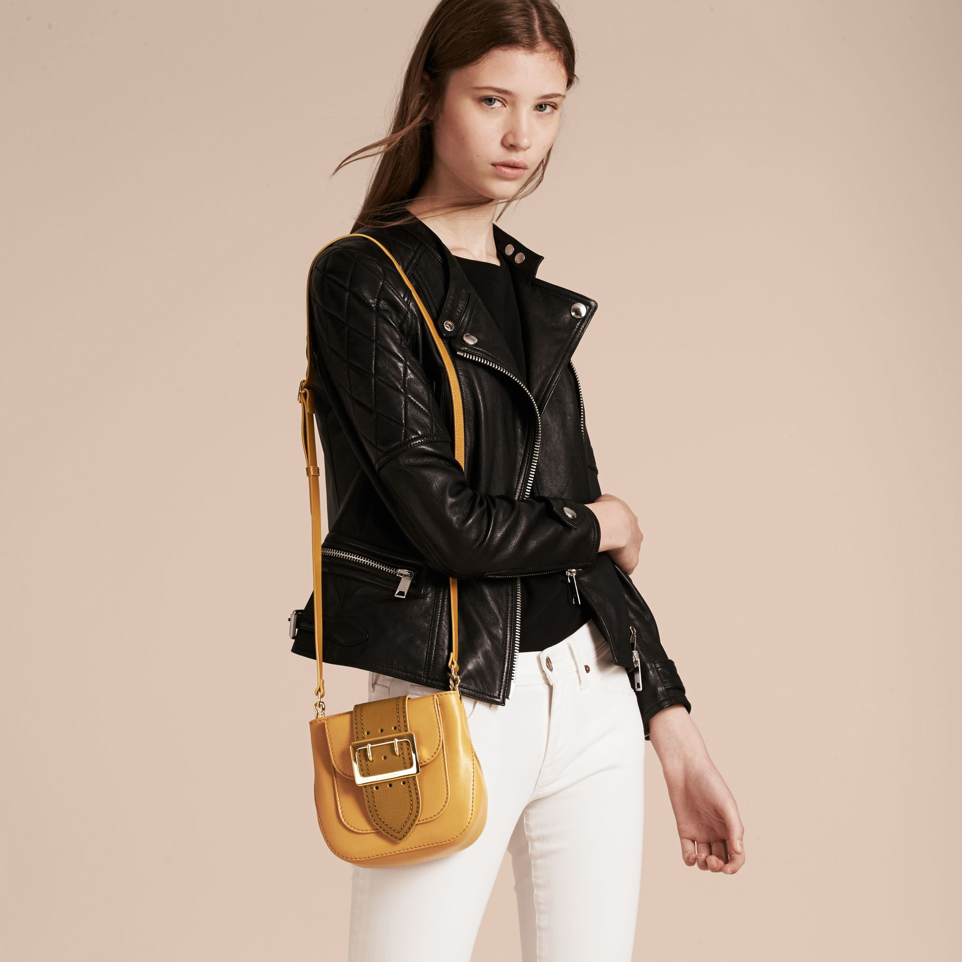 Ochre yellow The Small Square Buckle Bag in Leather - gallery image 3