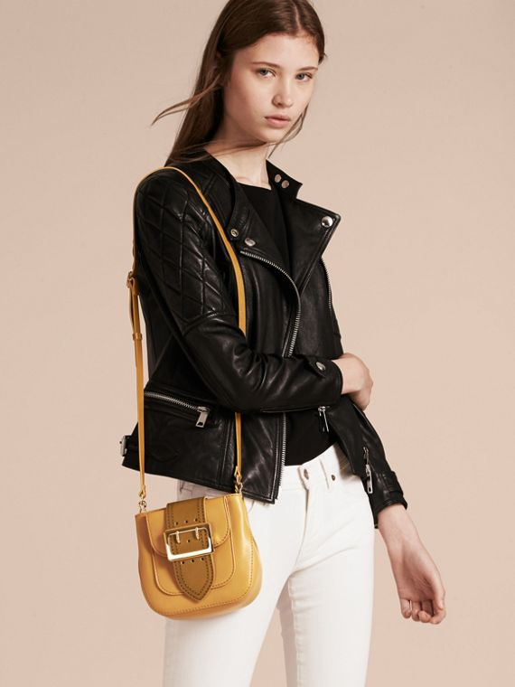 Ochre yellow The Small Square Buckle Bag in Leather - cell image 2