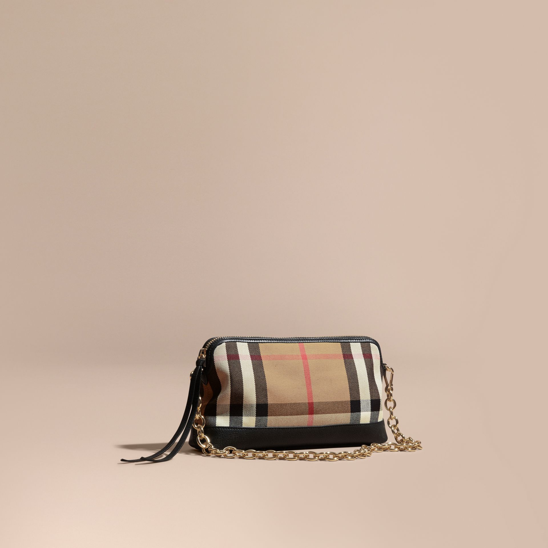 House Check and Leather Clutch Bag in Black - Women | Burberry Canada - gallery image 1
