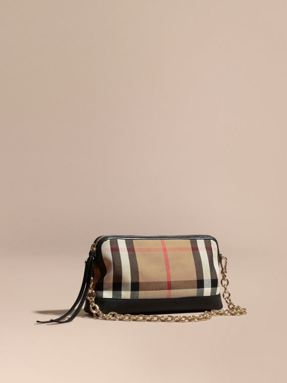 House Check and Leather Clutch Bag in Black - Women | Burberry