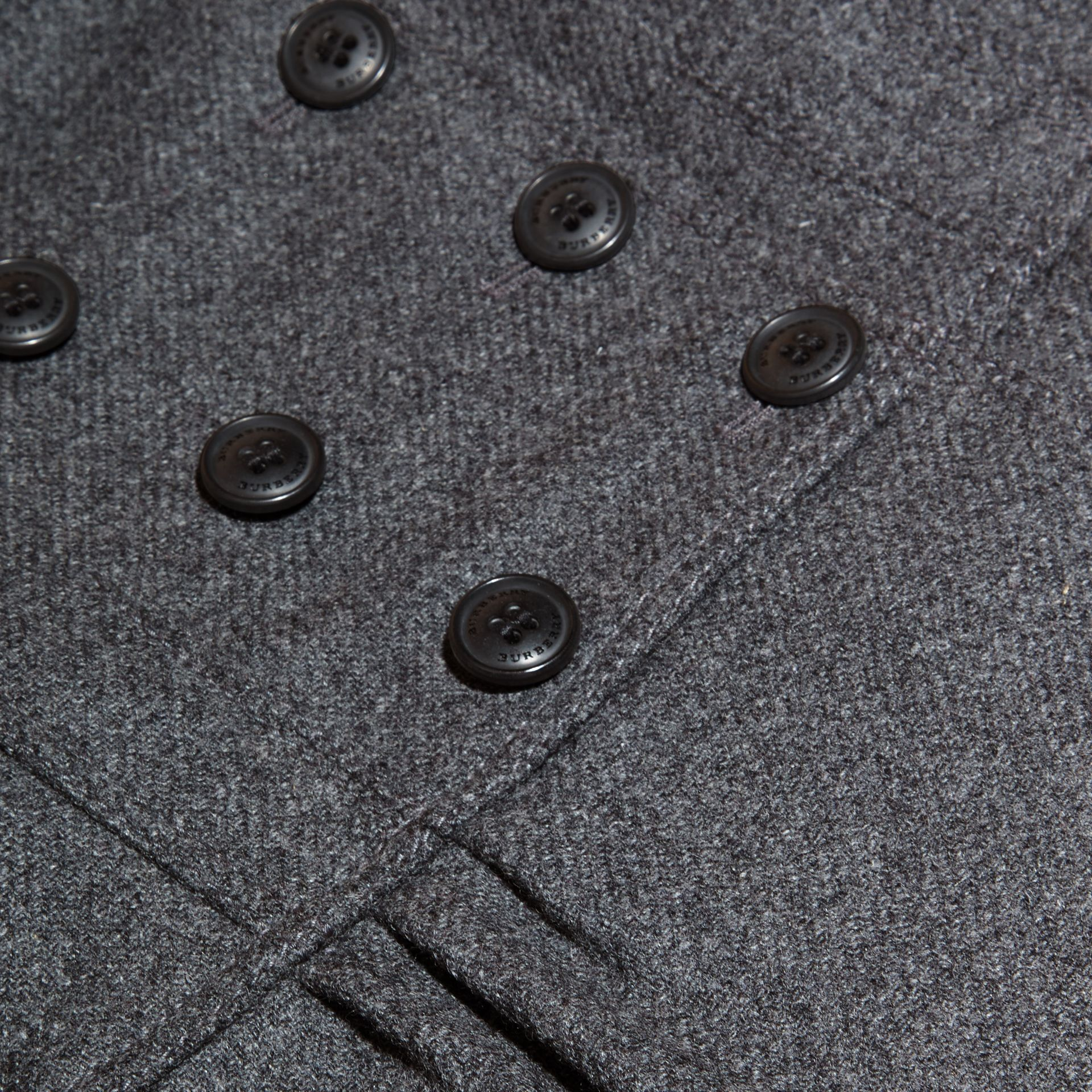 Mid grey melange Tailored Wool Cashmere Blend Coat Mid Grey Melange - gallery image 2