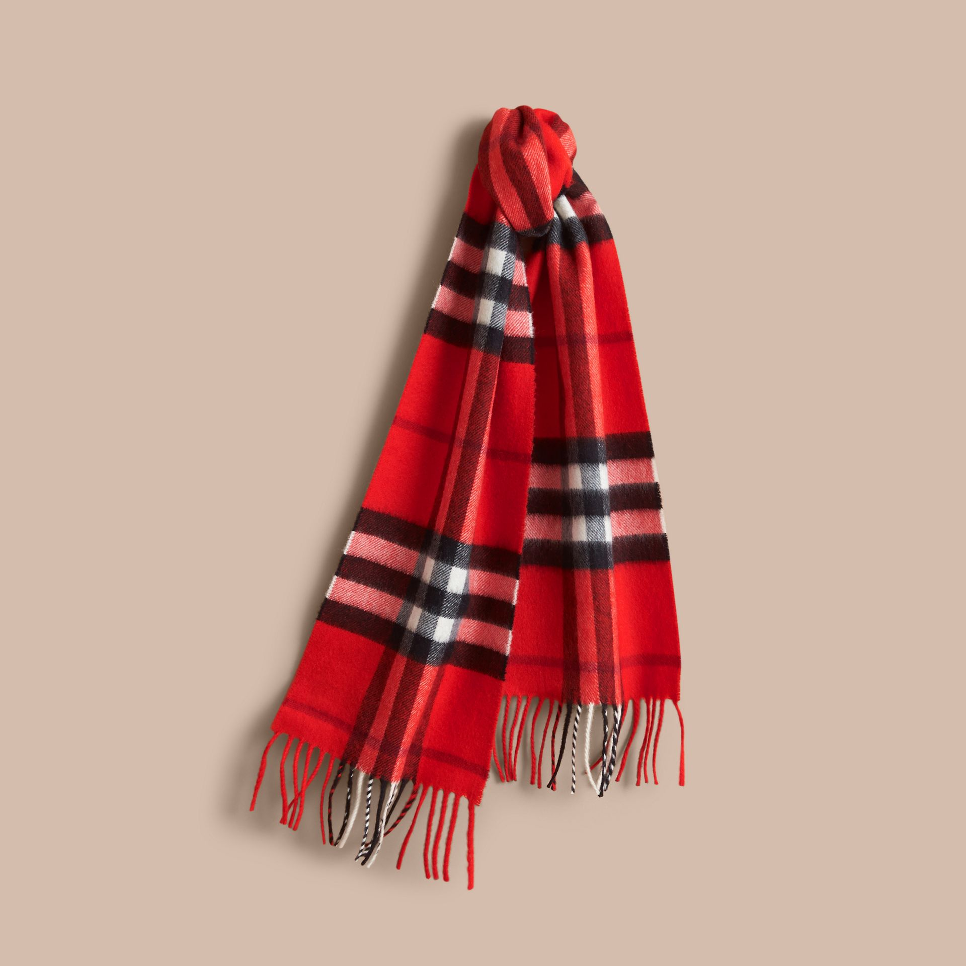 The Mini Classic Check Cashmere Scarf in Bright Orange Red | Burberry - gallery image 1