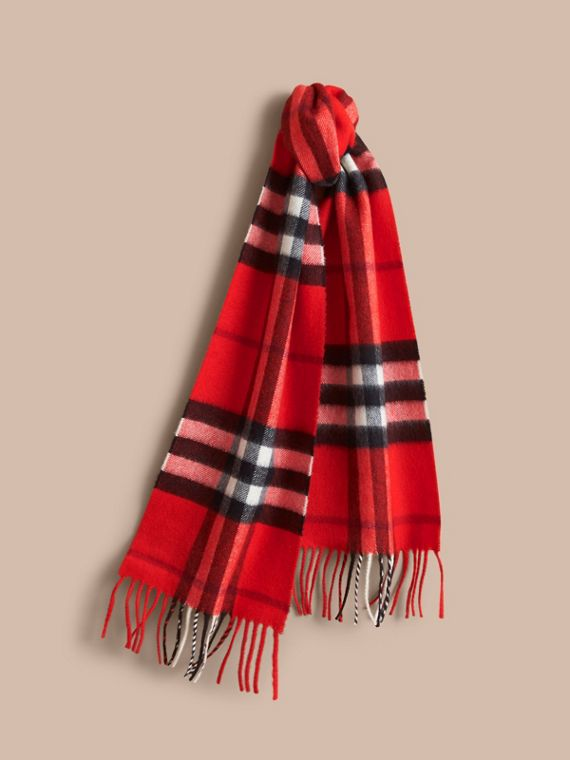 The Mini Classic Cashmere Scarf in Check in Bright Orange Red | Burberry