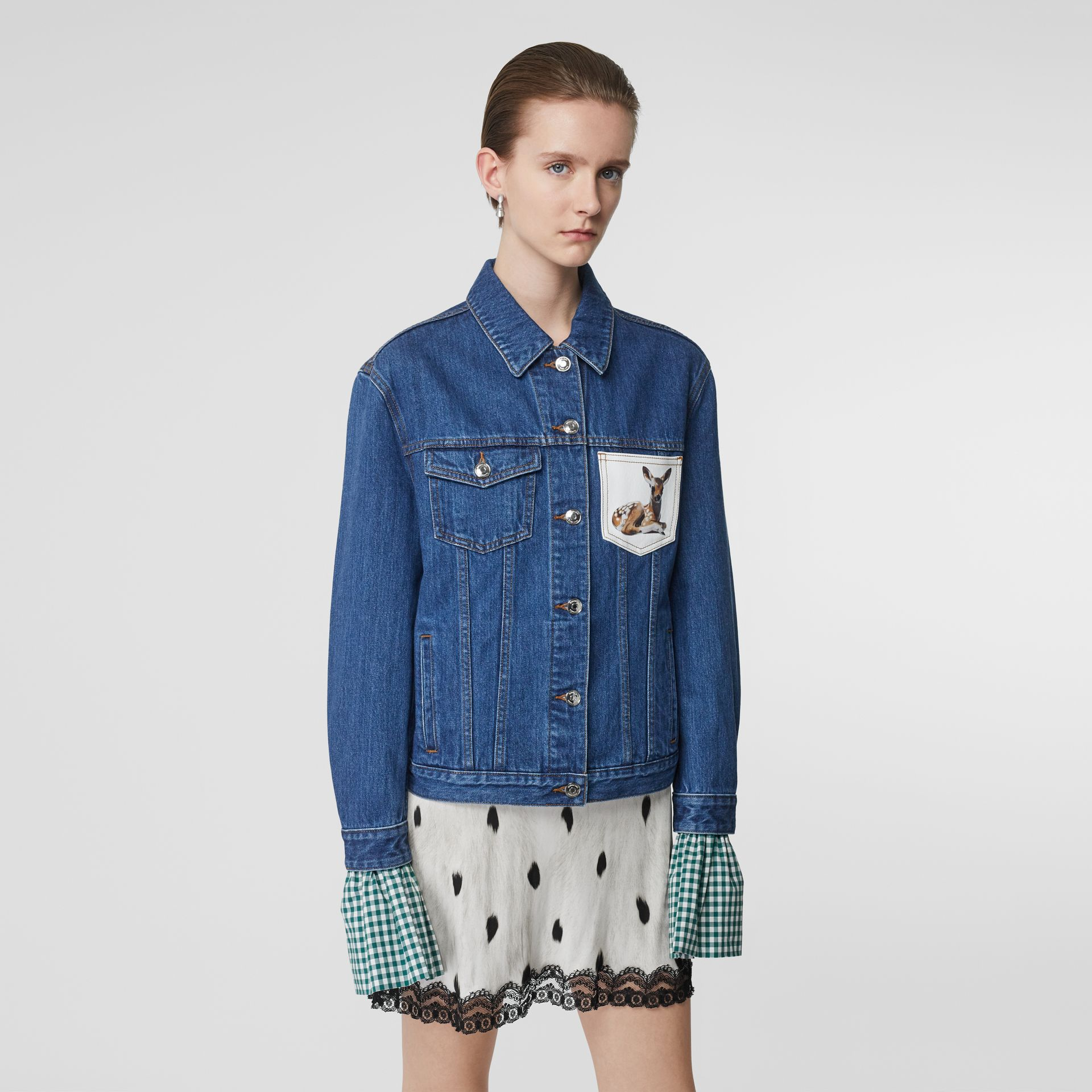 Deer Motif Japanese Denim Jacket in Mid Blue - Women | Burberry - gallery image 0
