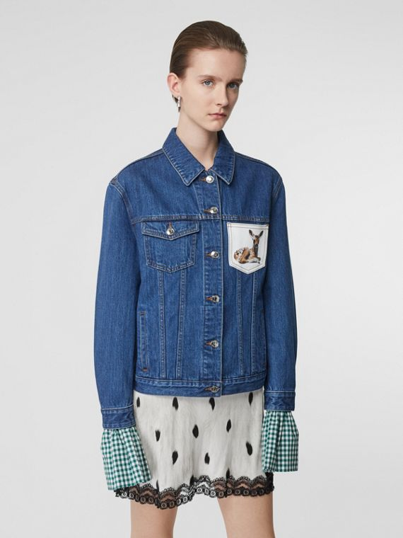 Deer Motif Japanese Denim Jacket in Mid Blue