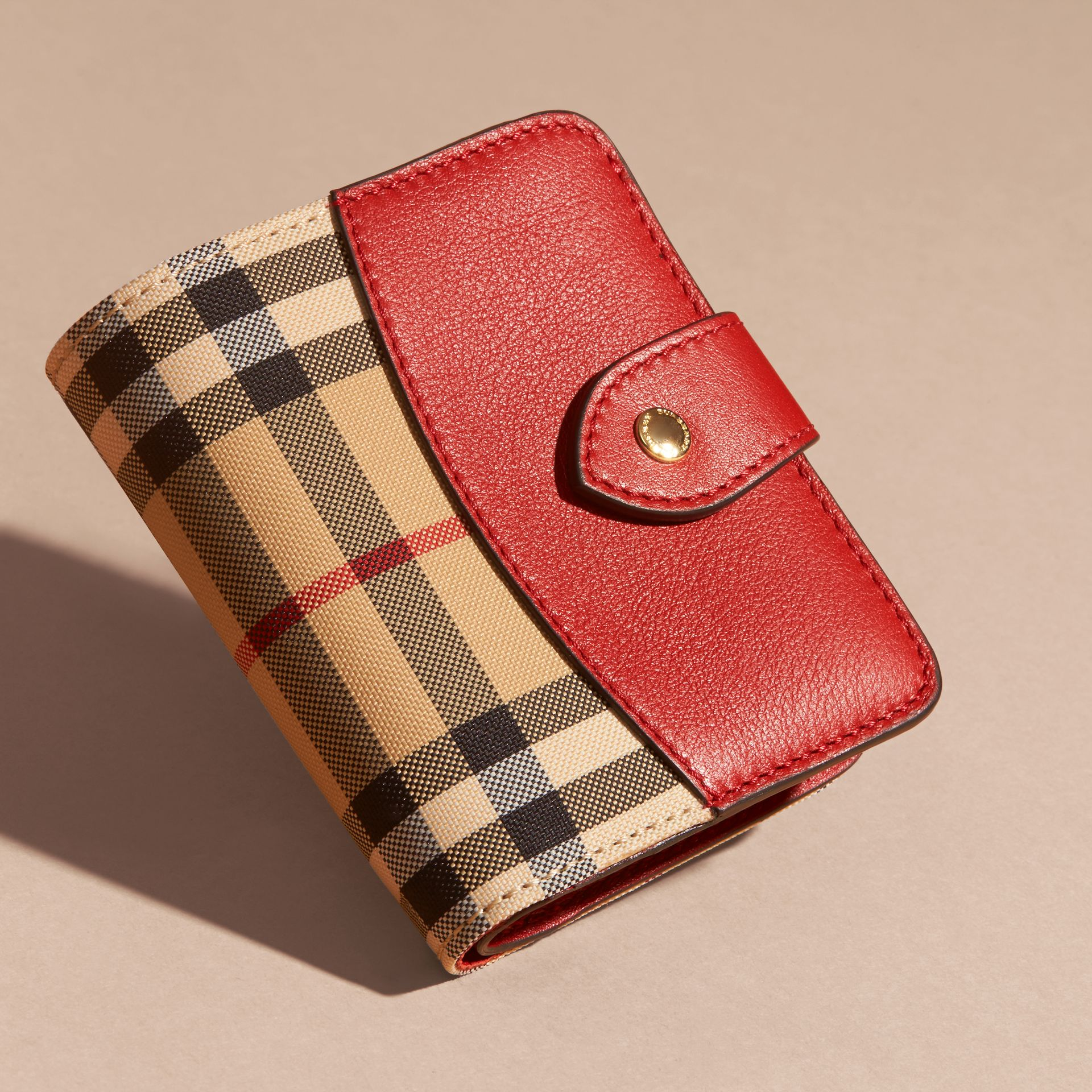 Parade red Horseferry Check and Leather Wallet Parade Red - gallery image 3