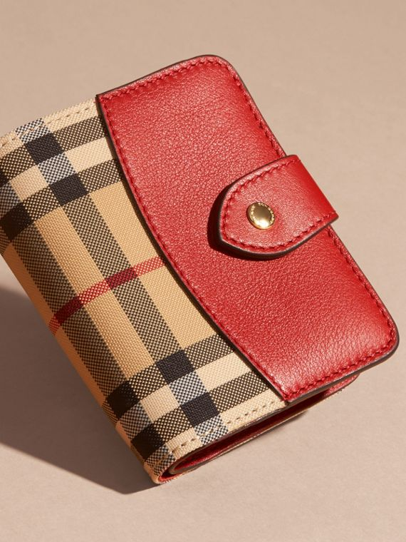 Horseferry Check and Leather Wallet in Parade Red - cell image 2