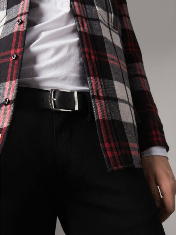 Reversible London Check and Leather Belt in Charcoal/black - Men | Burberry Australia - cell image 3