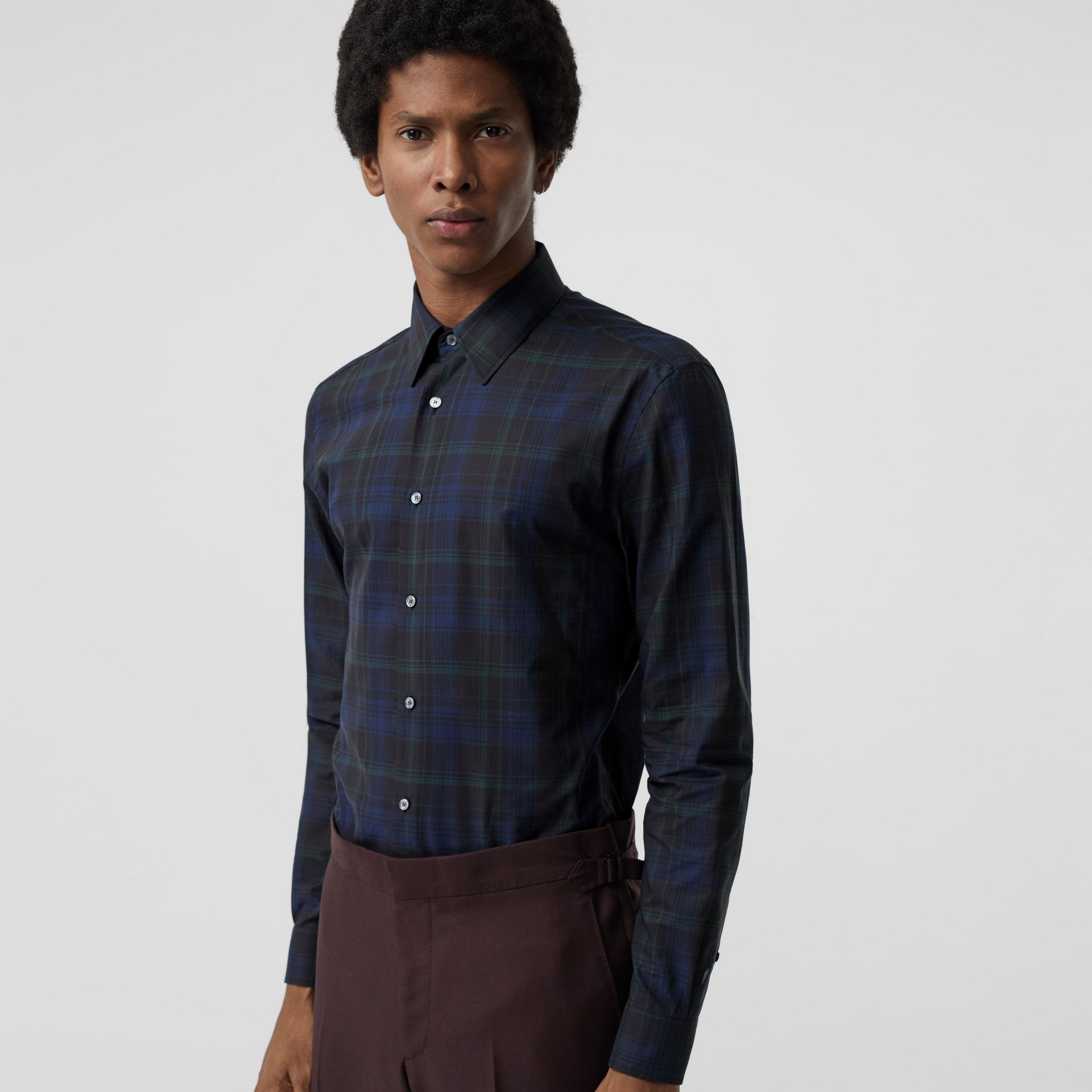 Slim Fit Tartan Cotton Shirt in Bright Navy - Men | Burberry United Kingdom - gallery image 0