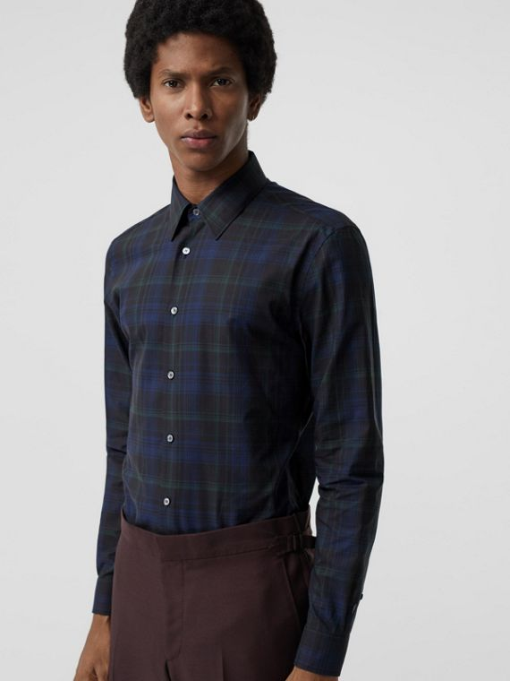 Slim Fit Tartan Cotton Shirt in Bright Navy