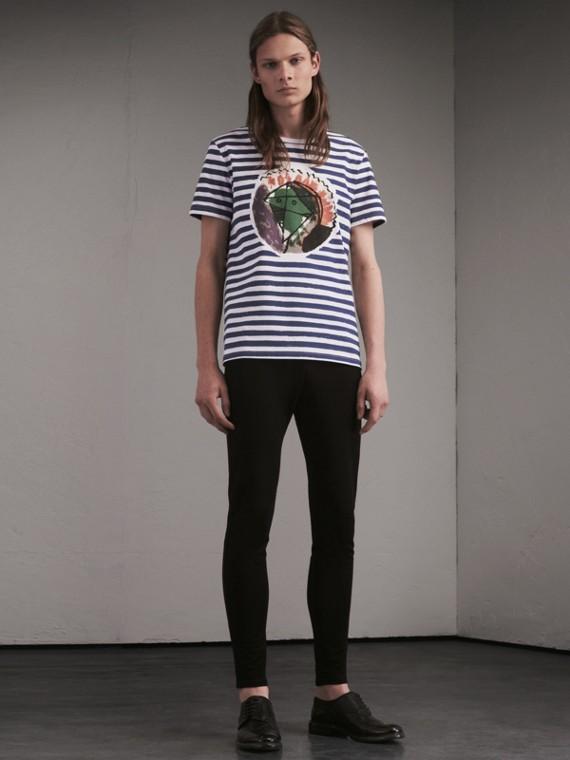 パラスヘッド プリント ストライプト コットンTシャツ